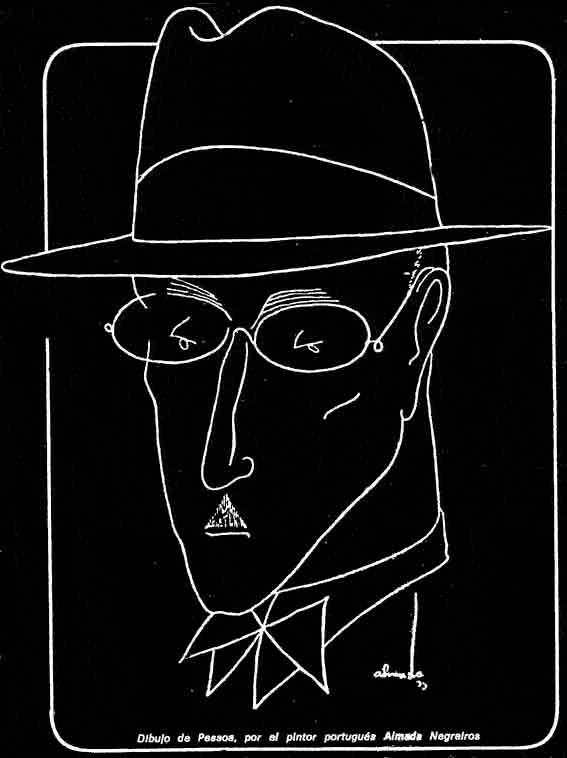 dibujo de Pessoa por el pintor portugués Almada Negreiros